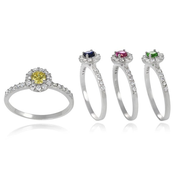 Journee Collection Sterling Silver Gemstone and Cubic Zirconia Ring