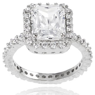 Journee Collection Sterling Silver Square Cubic Zirconia Bridal-style Ring