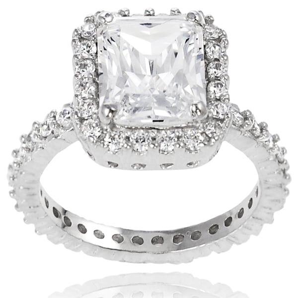 Journee Collection Sterling Silver Square-cut Cubic Zirconia Bridal-style Ring