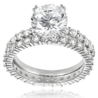 Tressa Sterling Silver Round-cut Cubic Zirconia Bridal-style Ring Set