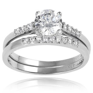 Journee Collection Sterling Silver Round-cut Basket-set Cubic Zirconia Bridal-style Ring Set