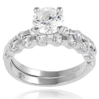 Tressa Sterling Silver White Round-cut Prong-set Bridal-style Ring Set