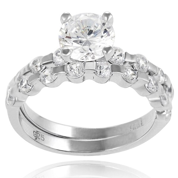 Journee Collection Sterling Silver White Round-cut Prong-set Bridal-style Ring Set