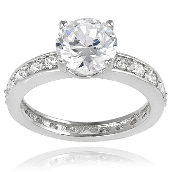 Journee Collection Sterling Silver White Round Cubic Zirconia Bridal-style Ring