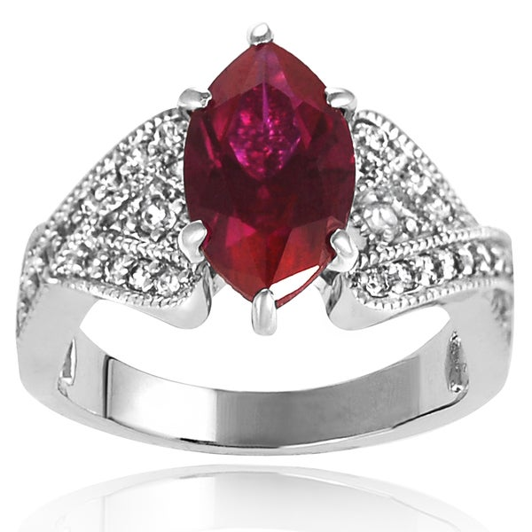 Journee Collection Sterling Silver Marquise-cut Garnet and Cubic Zirconia Accent Bridal-style Ring