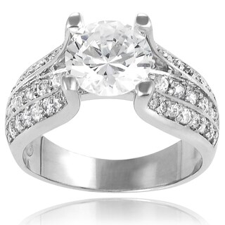 Tressa Sterling Silver Round-cut Cubic Zirconia Bridal-style Ring