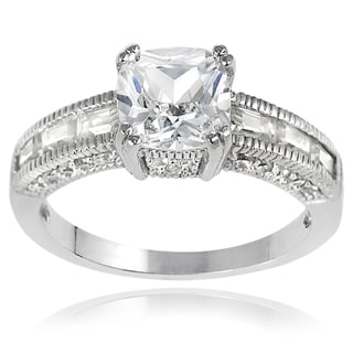 Tressa Sterling Silver Baguette-cut Cubic Zirconia Bridal-style Ring