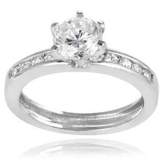 Tressa Sterling Silver Cubic Zirconia Round Bridal-style Ring