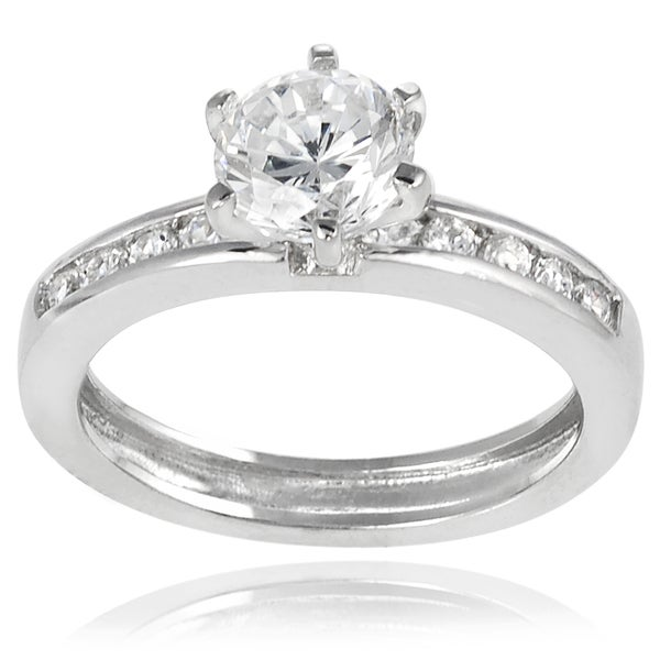 Journee Collection Sterling Silver Round-cut Cubic Zirconia Bridal-style Ring
