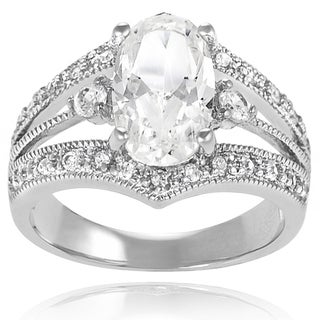 Tressa Highly Polished Sterling Silver Oval Cubic Zirconia Bridal-style Ring