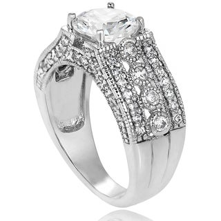 Tressa Sterling Silver Round Cubic Zirconia Bridal-style Ring