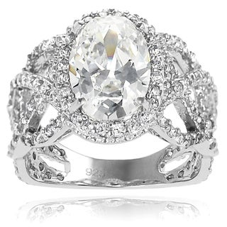 Tressa Collection Sterling Silver Oval Cubic Zirconia Bridal-style Ring