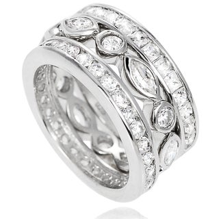 Journee Collection Sterling Silver Cubic Zirconia 3-piece Eternity Ring Set
