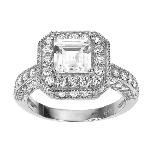 Journee Collection Sterling Silver Square and Round Cubic Zirconia Bridal-style Ring
