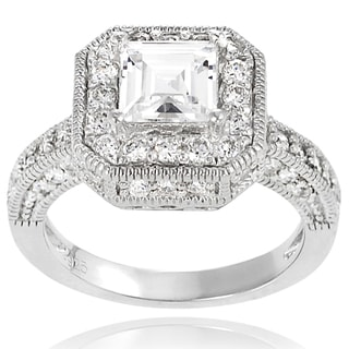 Tressa Sterling Silver Square and Round Cubic Zirconia Bridal-style Ring