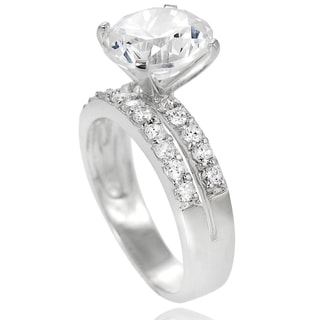 Journee Collection Sterling Silver Round Prong-set Cubic Zirconia Bridal-style Ring