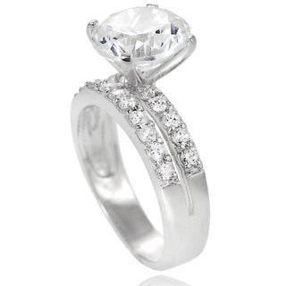 Tressa Collection Sterling Silver Round Prong-set Cubic Zirconia Bridal-style Ring