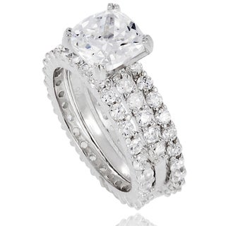 Tressa Sterling Silver Cubic Zirconia 3-piece Bridal-style Ring Set