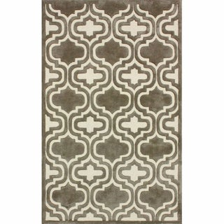 nuLOOM Handmade Marrakesh Trellis Natural Faux Silk/ Wool Rug