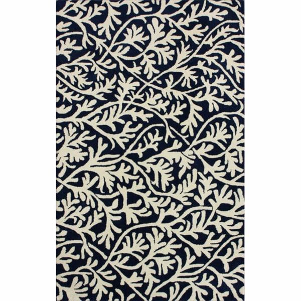 nuLOOM Handmade Floral Navy Wool Rug