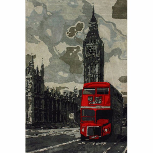nuLOOM Handmade London Bus Red Wool Rug