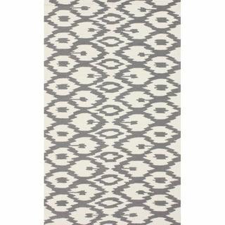 nuLOOM Handmade Modern Ikat Trellis Grey Rug (7'6 x 9'6)
