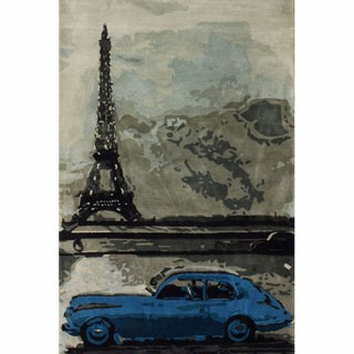 nuLOOM Handmade Eiffel Tower Car Blue Wool Rug