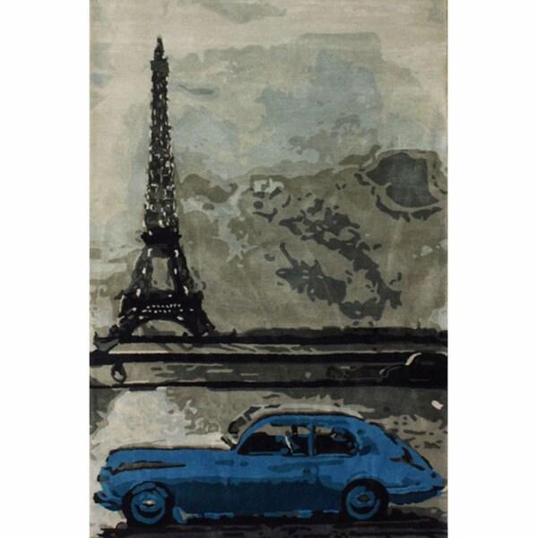 nuLOOM Handmade Eiffel Tower Car Blue Wool Rug