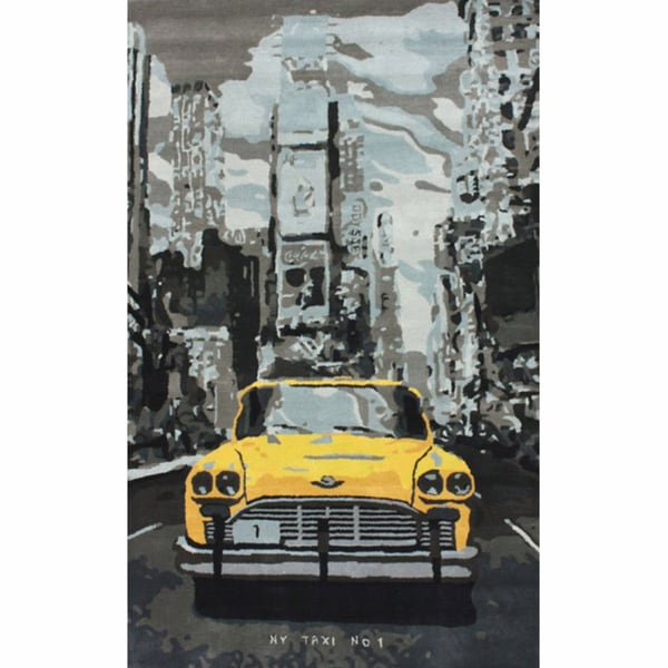nuLOOM Handmade New York City Taxi Cab Yellow Wool Rug