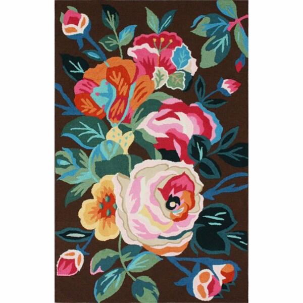 nuLOOM Handmade Floral Brown Rug