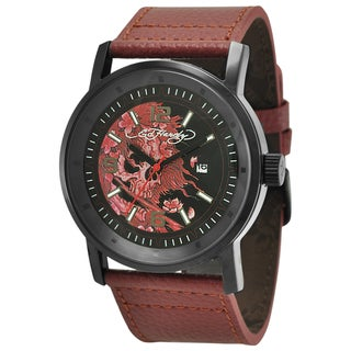 Ed Hardy Men's Black Steel 'Beautiful Ghost' Watch