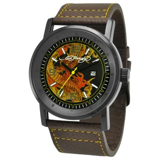 Ed Hardy Men's Black Steel 'Dragon' Watch