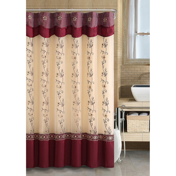VCNY Daphne Burgundy Shower Curtain