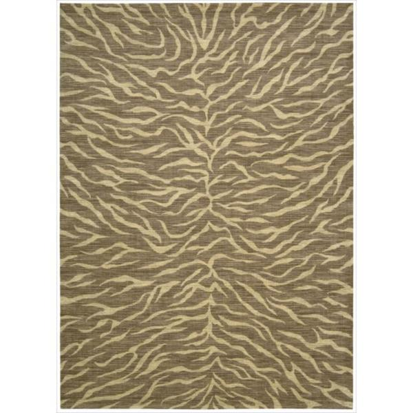 Riviera Chocolate Zebra Print Wool Blend Rug (7'9 x 10'10)