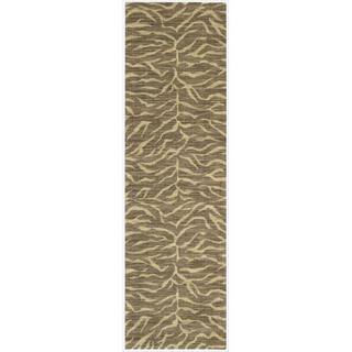 Riviera Chocolate Zebra Print Wool Blend Rug (9'6 x 13')