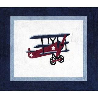 Sweet Jojo Designs Vintage Aviator Airplane Accent Floor Rug