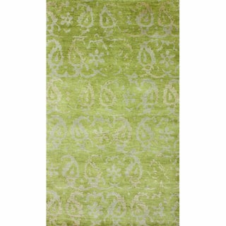 nuLOOM Hand-knotted Paisley Leaves Green New Zealand Wool Rug