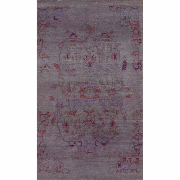 nuLOOM Hand-knotted Plum New Zealand Wool Rug