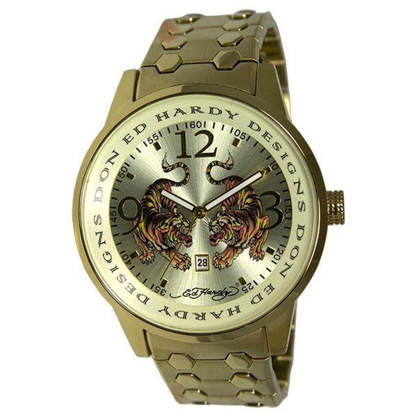 Ed Hardy Men's Goldtone steel 'Tiger' Watch
