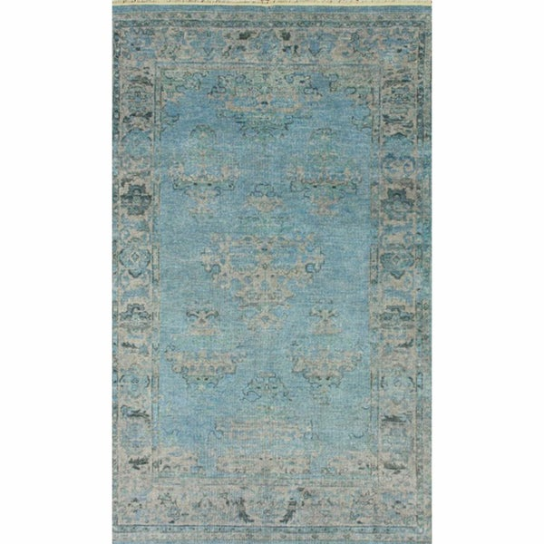 nuLOOM Hand-knotted Light Blue New Zealand Wool Rug