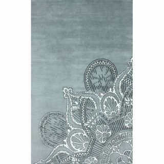 nuLOOM Hand-knotted Light Blue Faux Silk / Wool Rug