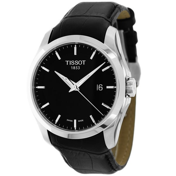 Tissot Men's T035.410.16.051.00 Couturier Leather Date Strap Black Dial Watch