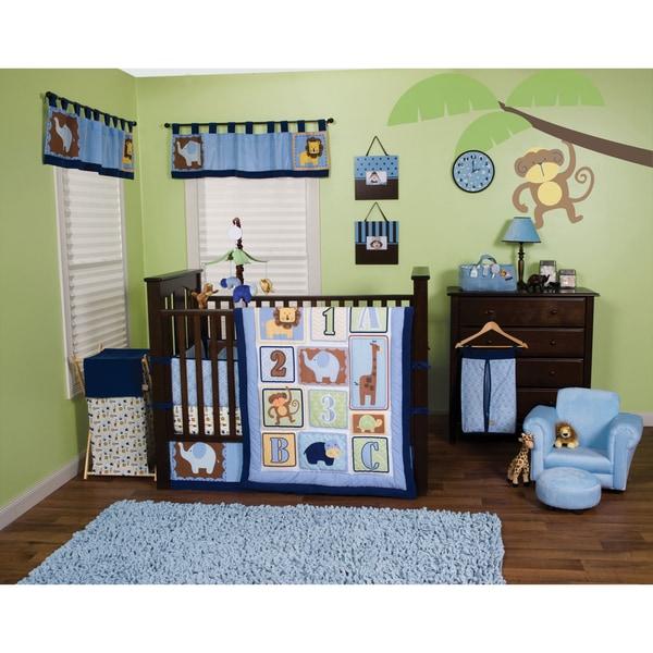 Trend Lab Jungle 123 Blue 5-piece Crib Bedding Set