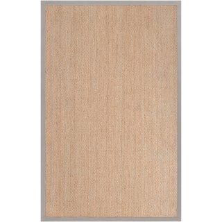 Hand-woven Vicenza Tan Natural Fiber Seagrass Cotton Border Rug (5' x 8')