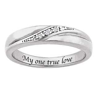 Sterling Silver Diamond Accent 'My one true love' Engraved Band