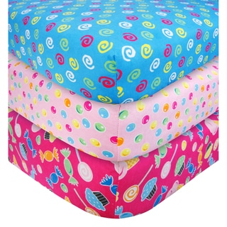 Trend Lab Candy Flannel Fitted Crib Sheet Set (Pack of 3)
