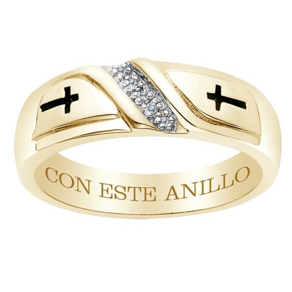 18k Gold over Silver Diamond Accent 'Con Este Anillo' Engraved Band
