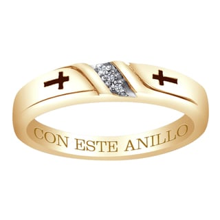 18k Gold over Silver Diamond Accent 'Con Este Anillo' Engraved Band