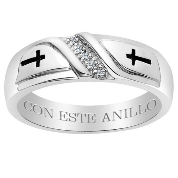Sterling Silver Diamond Accent 'Con Este Anillo' Engraved Band