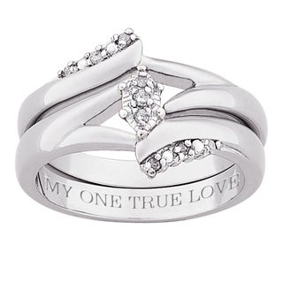Silver 1/10ct TDW Diamond 'My One True Love' 2-piece Ring Set (J-K, I3)